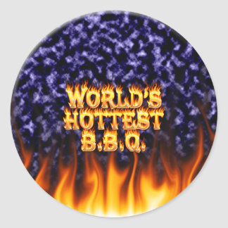World's hottest BBQ fire and flames blue marble. Classic Round Sticker