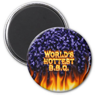 World's hottest BBQ fire and flames blue marble. Magnet