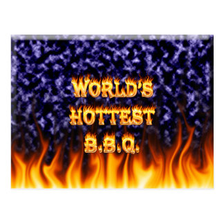 World's hottest BBQ fire and flames blue marble Postcard