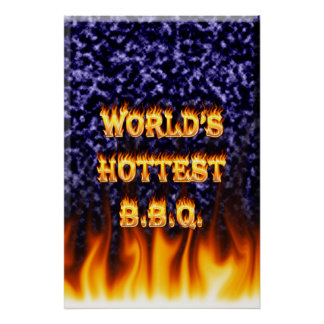 World's hottest BBQ fire and flames blue marble Print