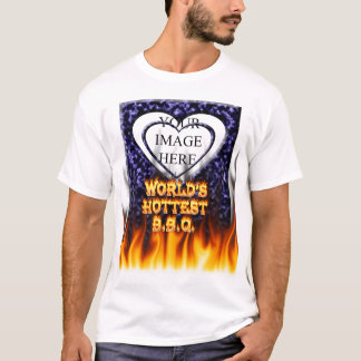 World's hottest BBQ fire and flames blue marble. T-Shirt