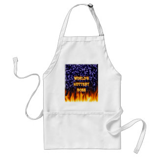 World's hottest Boss fire and flames blue marble. Adult Apron