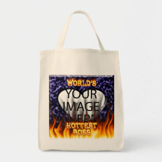 World's hottest Boss fire and flames blue marble. Canvas Bag