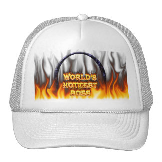 World's hottest Boss fire and flames blue marble. Trucker Hat