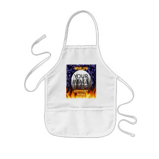 World's hottest Boss fire and flames blue marble. Kids' Apron