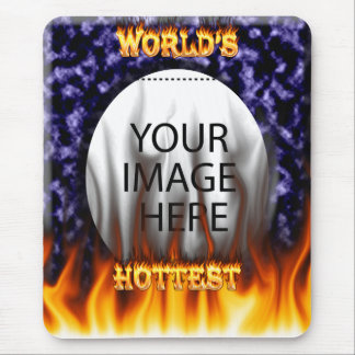 World's hottest Boss fire and flames blue marble Mouse Pad