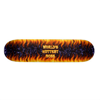 World's hottest Boss fire and flames blue marble Skateboard Deck