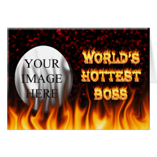 World's hottest Boss fire and flames red marble Card