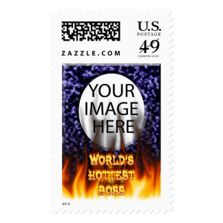World's hottest Boss fire and flames red marble Postage