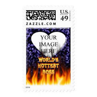 World's hottest Boss fire and flames red marble Postage Stamp