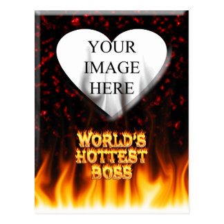 World's hottest Boss fire and flames red marble. Postcard