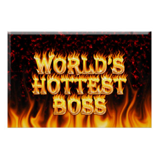 World's hottest Boss fire and flames red marble. Poster