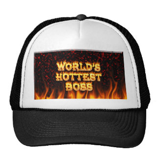 World's hottest Boss fire and flames red marble. Trucker Hat