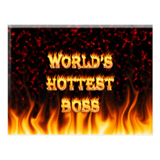 worlds hottest boss postcard