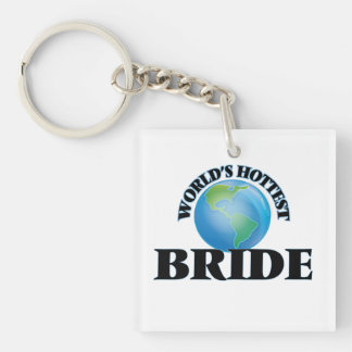 World's Hottest Bride Square Acrylic Key Chains