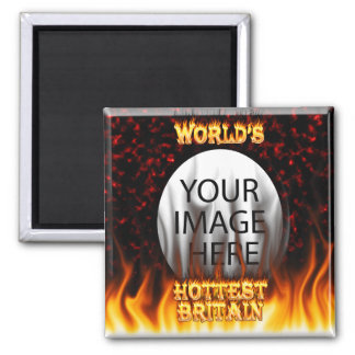 World's Hottest Britain fire and flames red marble 2 Inch Square Magnet