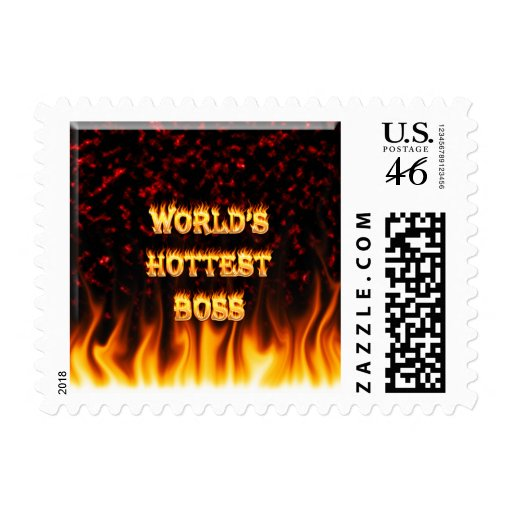 World's Hottest Britain fire and flames red marble Postage