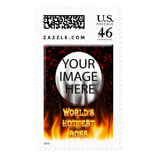 World's Hottest Britain fire and flames red marble Stamp