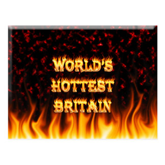 World's Hottest Britain fire and flames red marble Postcard