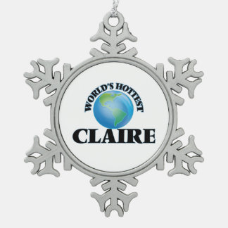 World's Hottest Claire Snowflake Pewter Christmas Ornament