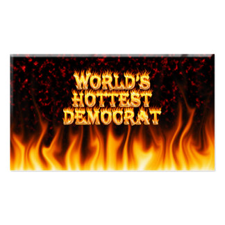 World's Hottest Democrat fire and flames red marbl Business Card