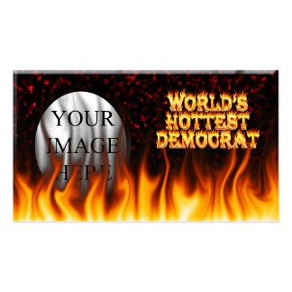 World's Hottest Democrat fire and flames red marbl Business Cards