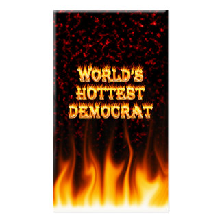World's Hottest Democrat fire and flames red marbl Business Card Templates