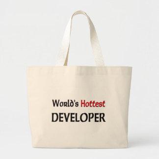 Worlds Hottest Developer Large Tote Bag