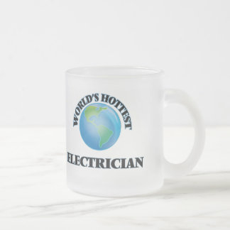 World's Hottest Electrician 10 Oz Frosted Glass Coffee Mug