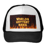 World's hottest Geek fire and flames red marble Trucker Hat