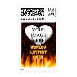 World's Hottest Geek fire and flames red marble Postage Stamps