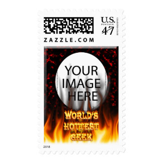 World's Hottest Geek fire and flames red marble Postage