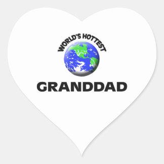 World's Hottest Granddad Heart Sticker