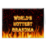 World's hottest Grandma fire and flames red marble Card
