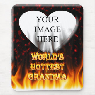 World's hottest Grandma fire and flames red marble Mouse Pad
