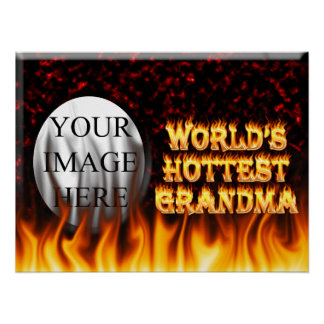 World's hottest Grandma fire and flames red marble Poster