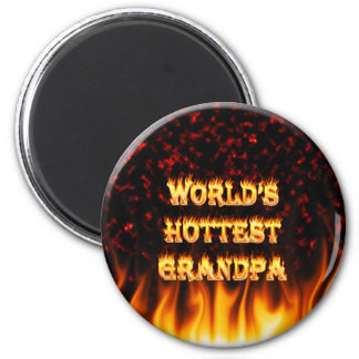 World's Hottest Grandpa fire and flames red marble 2 Inch Round Magnet