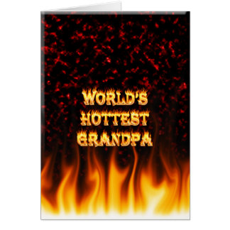 World's Hottest Grandpa fire and flames red marble Stationery Note Card