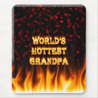 World's Hottest Grandpa fire and flames red marble Mouse Pad