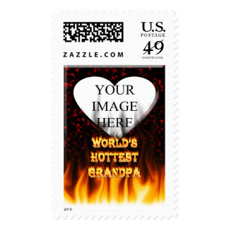 World's Hottest Grandpa fire and flames red marble Stamp