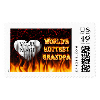 World's Hottest Grandpa fire and flames red marble Postage
