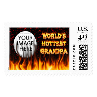 World's Hottest Grandpa fire and flames red marble Postage Stamp