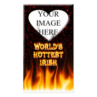 World's Hottest Irish fire and flames red marble. Business Card Template