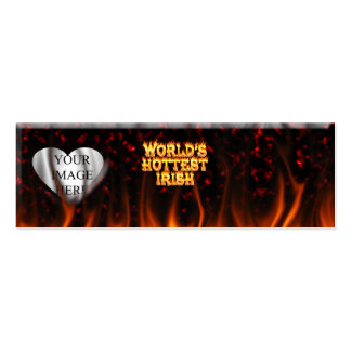 World's Hottest Irish fire and flames red marble. Business Card Templates