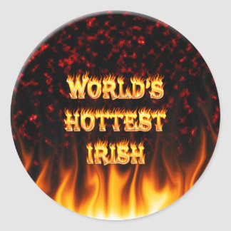 World's Hottest Irish fire and flames red marble Classic Round Sticker