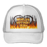 World's Hottest Irish fire and flames red marble. Hats