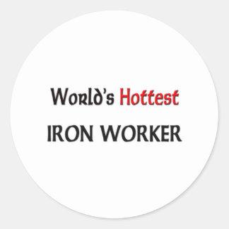 Worlds Hottest Iron Worker Classic Round Sticker