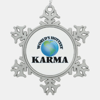 World's Hottest Karma Snowflake Pewter Christmas Ornament