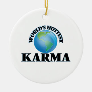 World's Hottest Karma Double-Sided Ceramic Round Christmas Ornament