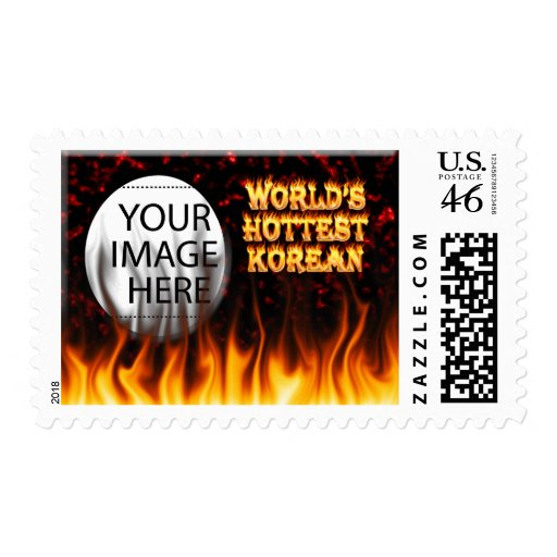World's Hottest Korean fire and flames red marble Stamp